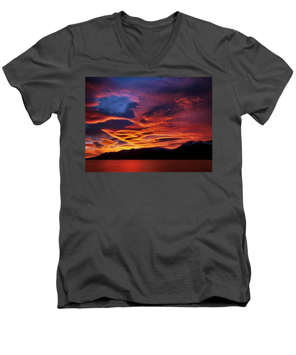 Patagonia Men's V-Neck T-Shirt featuring the photograph Patagonian Sunrise by Joe Bonita