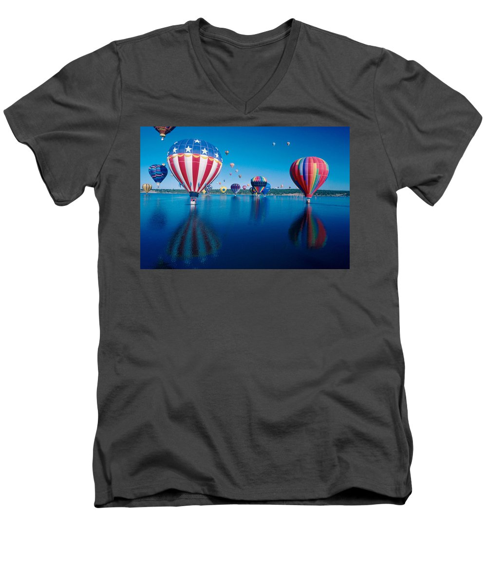 Hot Air Balloons Men's V-Neck T-Shirt featuring the photograph Patriotic Hot Air Balloon by Jerry McElroy