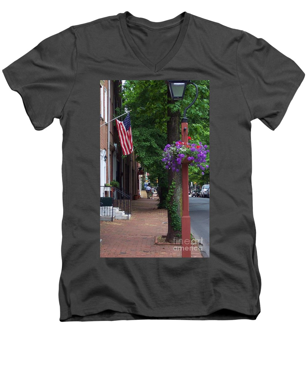 Cityscape Men's V-Neck T-Shirt featuring the photograph Patriotic Street In Philadelphia by Debbi Granruth