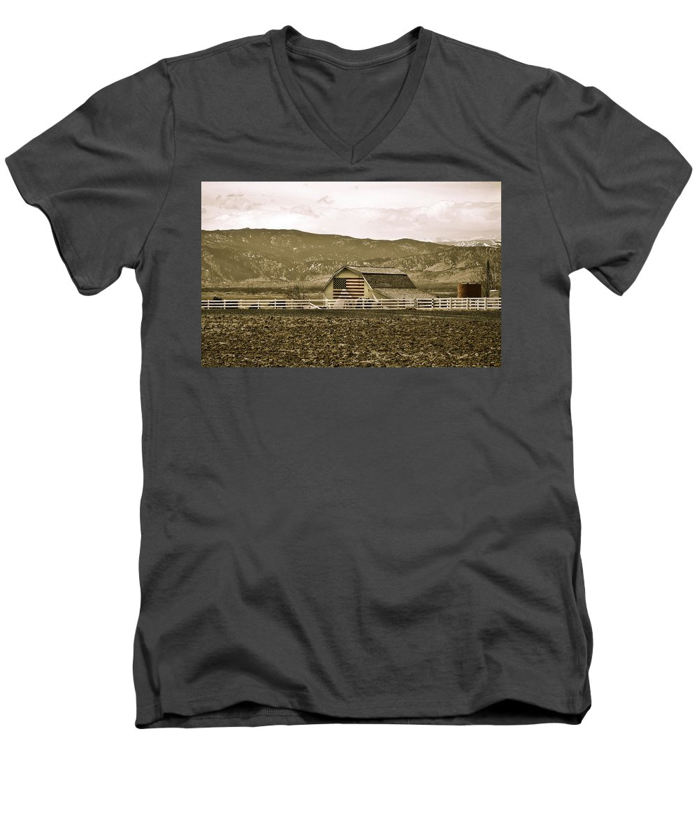 Americana Men's V-Neck T-Shirt featuring the photograph Patriotism And Barn by Marilyn Hunt