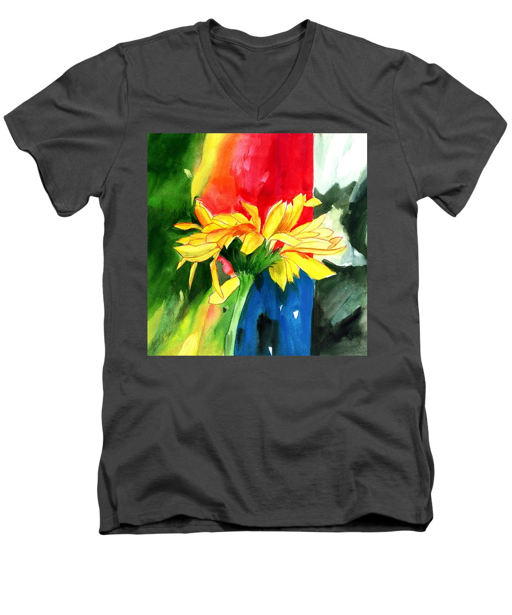 Peace Men's V-Neck T-Shirt featuring the painting Peace Square by Anil Nene