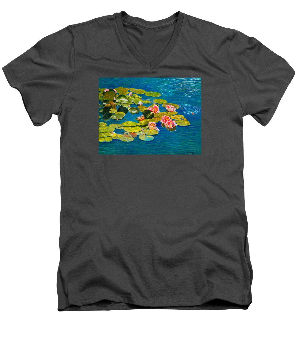 Water Lilies Men's V-Neck T-Shirt featuring the painting Peaceful Belonging by Michael Durst