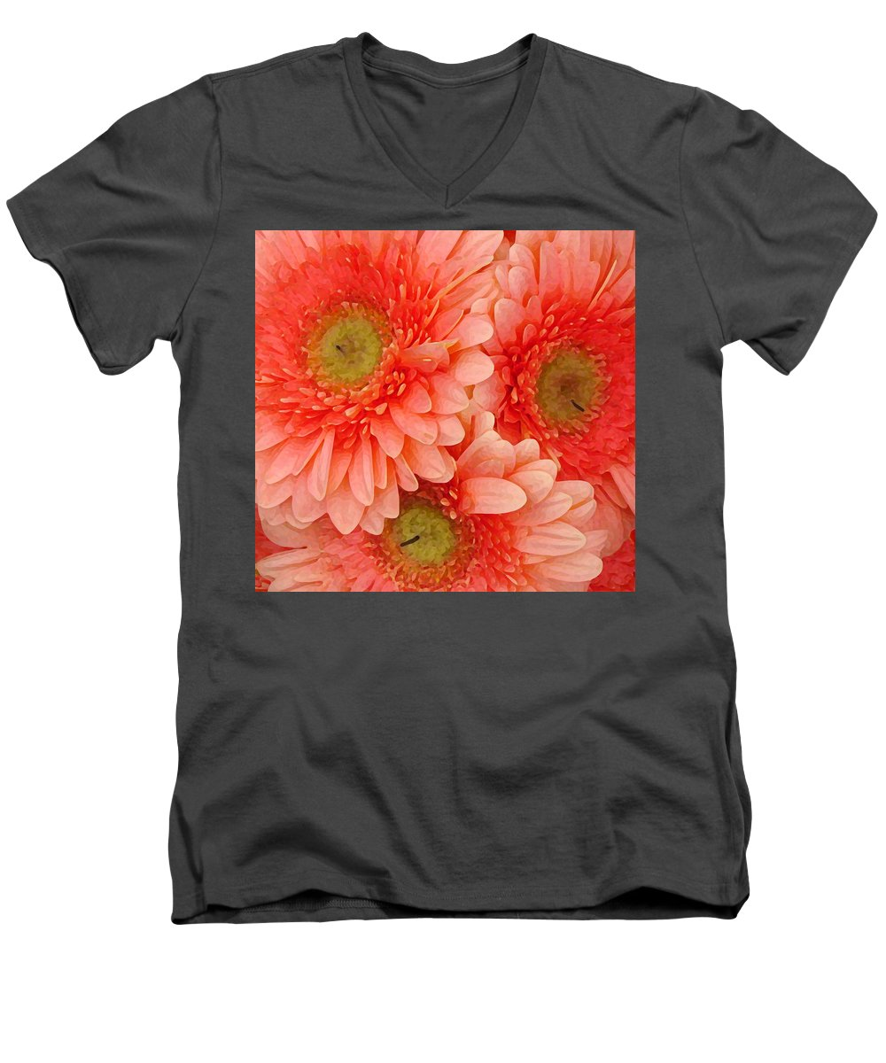 Floral Men's V-Neck T-Shirt featuring the painting Peach Gerbers by Amy Vangsgard