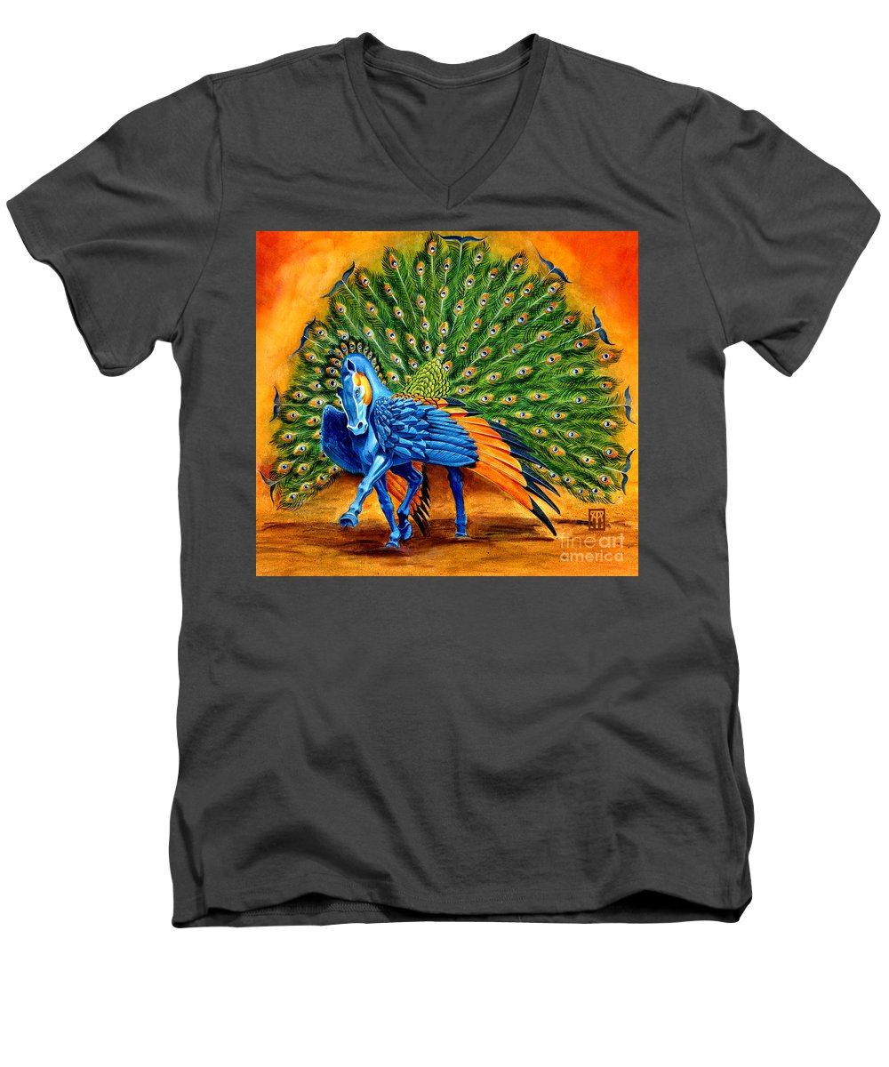 Horse Men's V-Neck T-Shirt featuring the painting Peacock Pegasus by Melissa A Benson