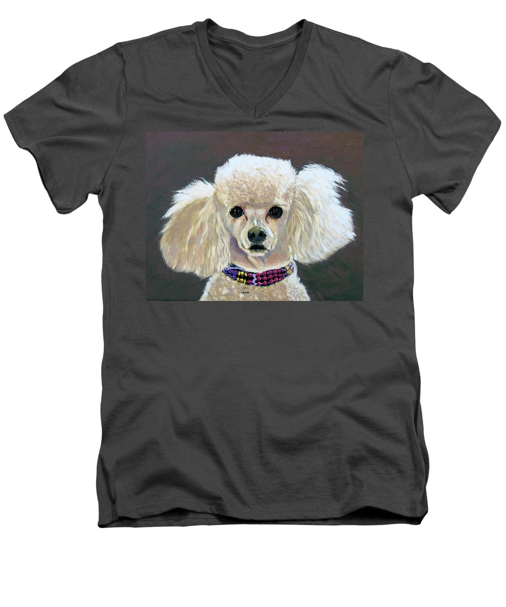 Dog Men's V-Neck T-Shirt featuring the painting Pebbles by Stan Hamilton