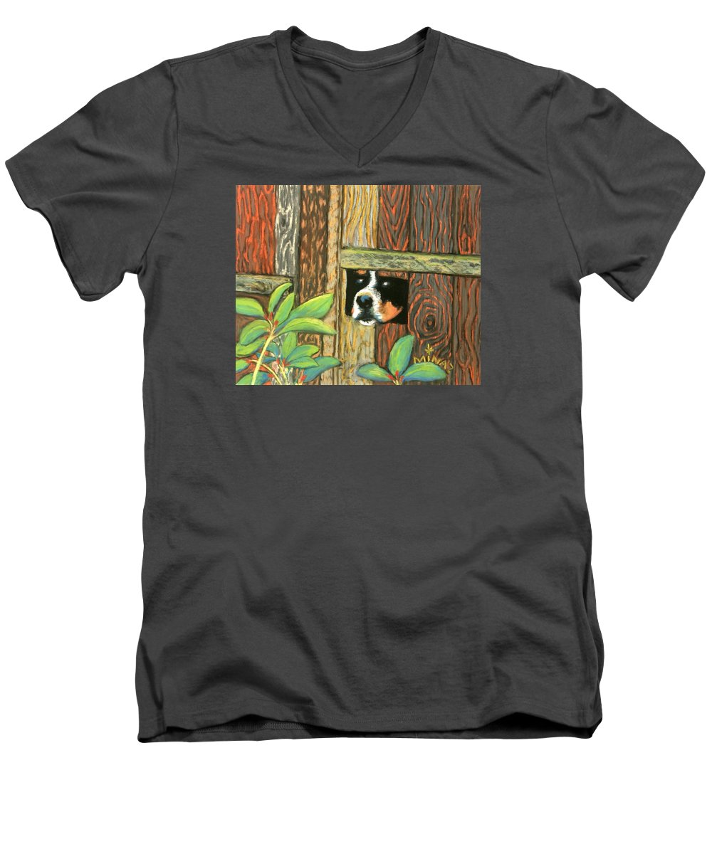 Dog Men's V-Neck T-Shirt featuring the painting Peek-a-boo Fence by Minaz Jantz