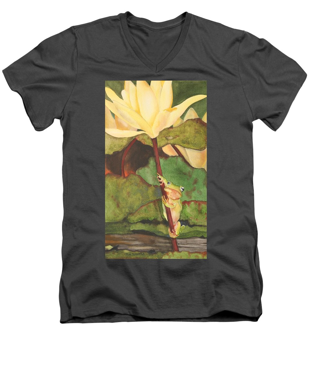 Frog Men's V-Neck T-Shirt featuring the painting Peeping Tom by Jean Blackmer