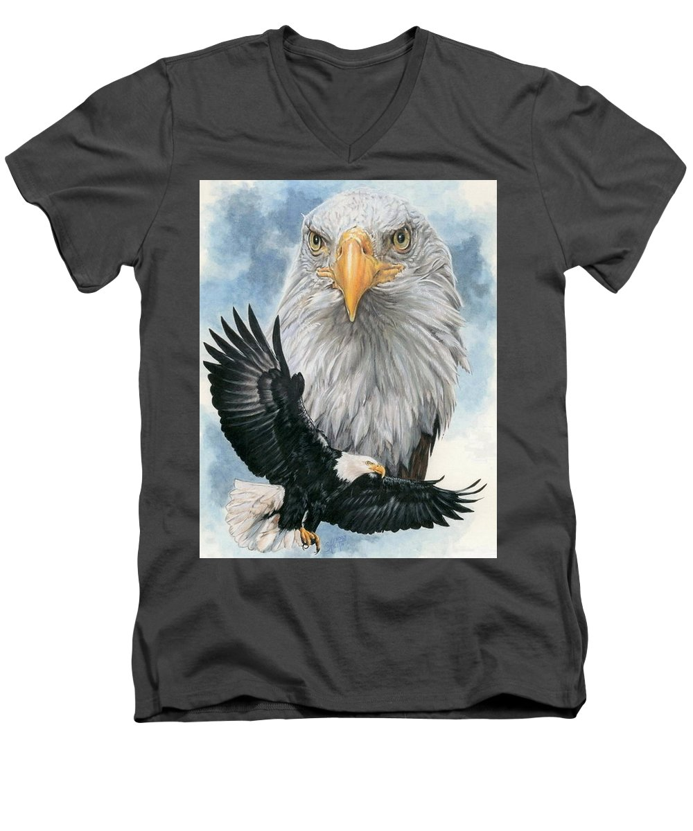 Bald Eagle Men's V-Neck T-Shirt featuring the mixed media Peerless by Barbara Keith