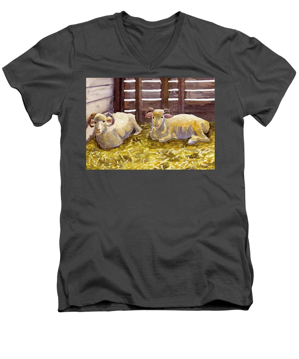 Sheep Men's V-Neck T-Shirt featuring the painting Pen Pals by Sharon E Allen