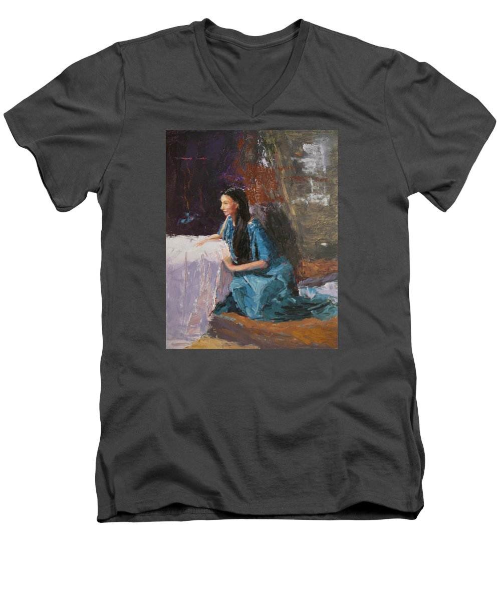 Sitting Woman Men's V-Neck T-Shirt featuring the painting Penelope by Irena Jablonski