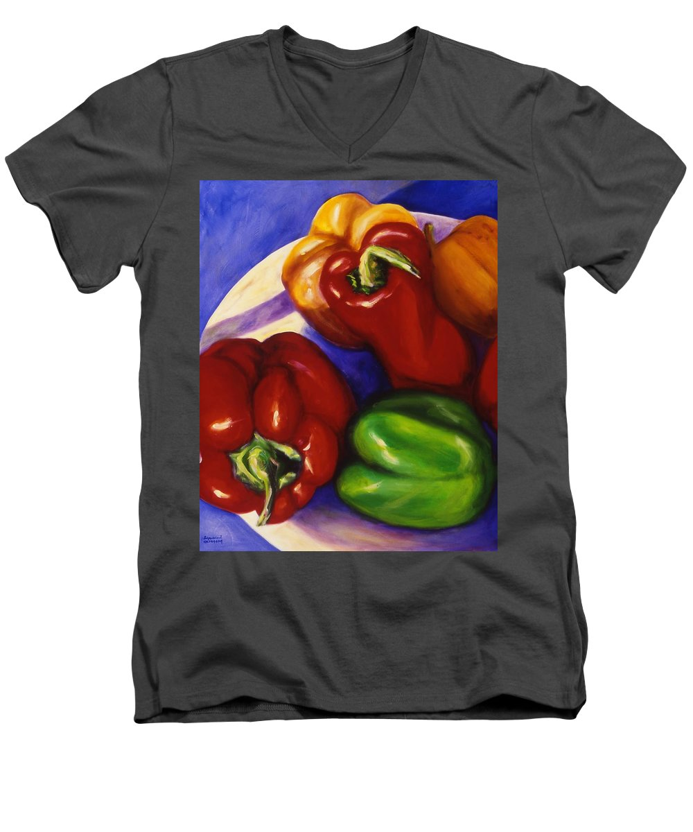 Still Life Peppers Men's V-Neck T-Shirt featuring the painting Peppers In The Round by Shannon Grissom