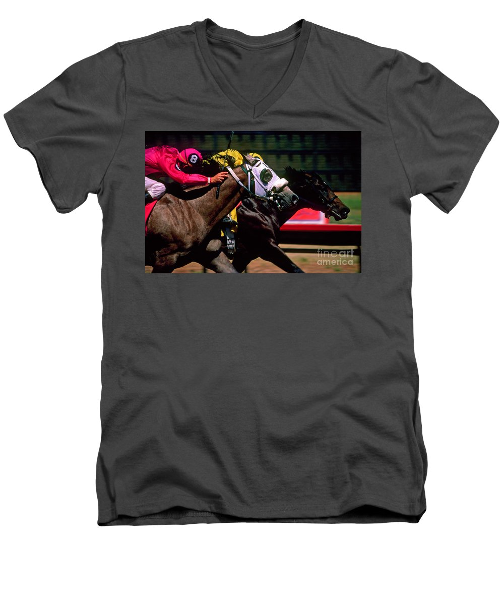 Horse Men's V-Neck T-Shirt featuring the photograph Photo Finish by Kathy McClure