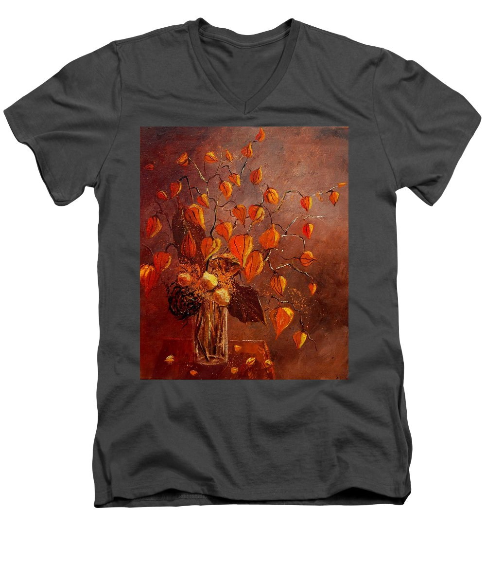 Poppies Men's V-Neck T-Shirt featuring the painting Physialis by Pol Ledent