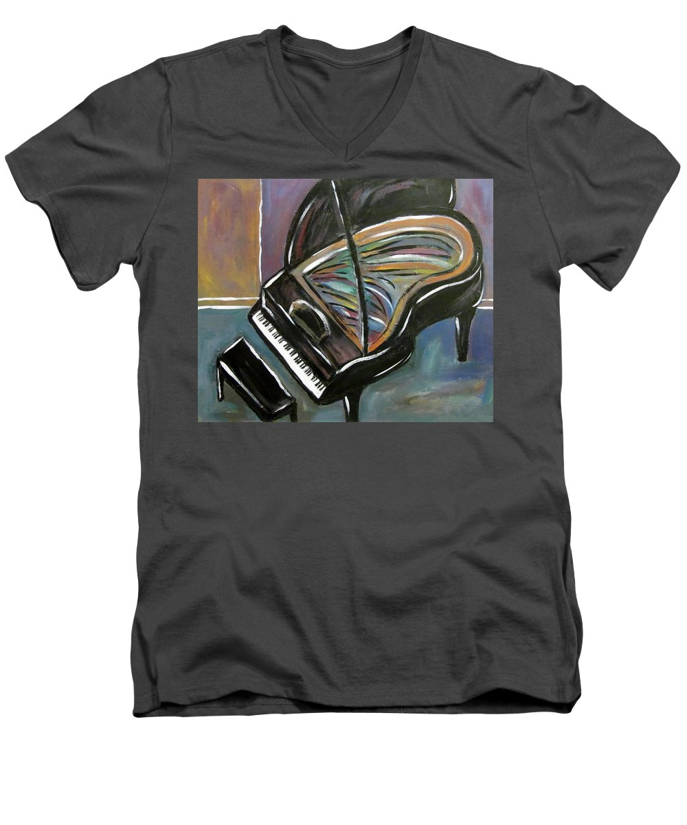 Impressionist Men's V-Neck T-Shirt featuring the painting Piano With High Heel by Anita Burgermeister