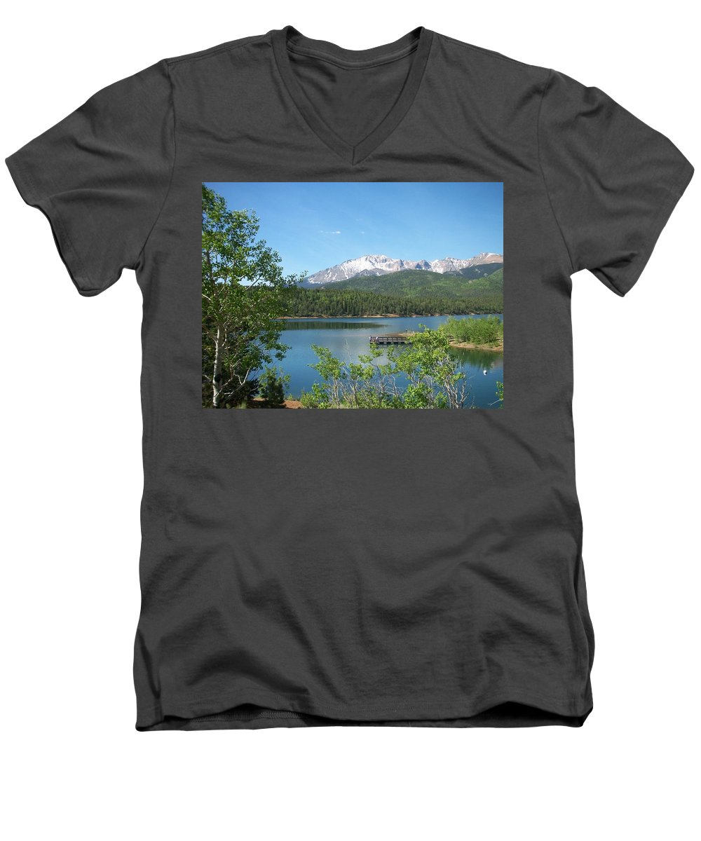 Colorado Men's V-Neck T-Shirt featuring the photograph Pike's Peak by Anita Burgermeister