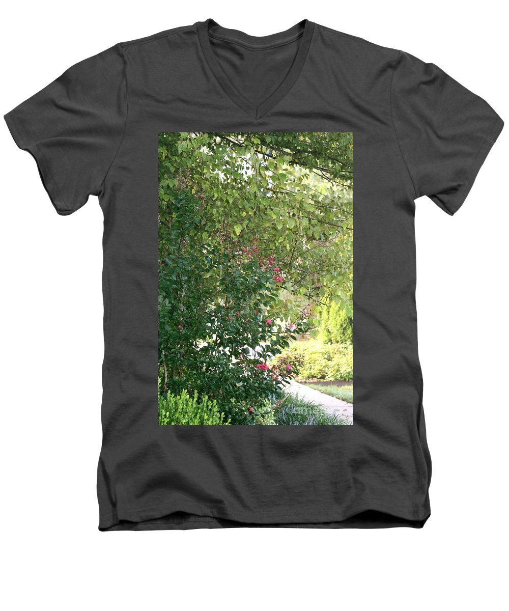 Path Men's V-Neck T-Shirt featuring the photograph Pink And Green Path by Nadine Rippelmeyer