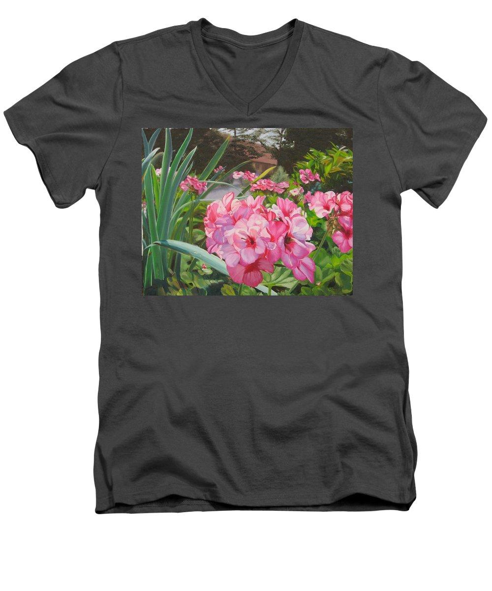 Pink Geraniums Men's V-Neck T-Shirt featuring the painting Pink Geraniums by Lea Novak