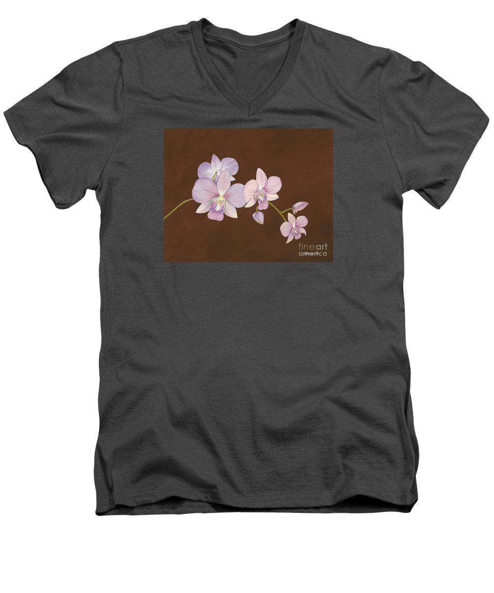 Orchid Men's V-Neck T-Shirt featuring the painting Pink Orchids by Shawn Stallings