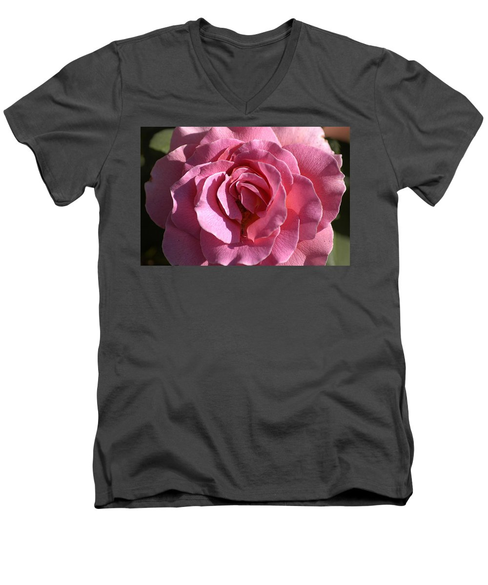 Clay Men's V-Neck T-Shirt featuring the photograph Pink Rose by Clayton Bruster