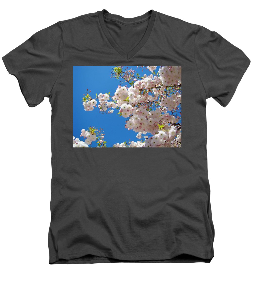 �blossoms Artwork� Men's V-Neck T-Shirt featuring the photograph Pink Tree Blossoms Art Prints 55 Spring Flowers Blue Sky Landscape by Baslee Troutman