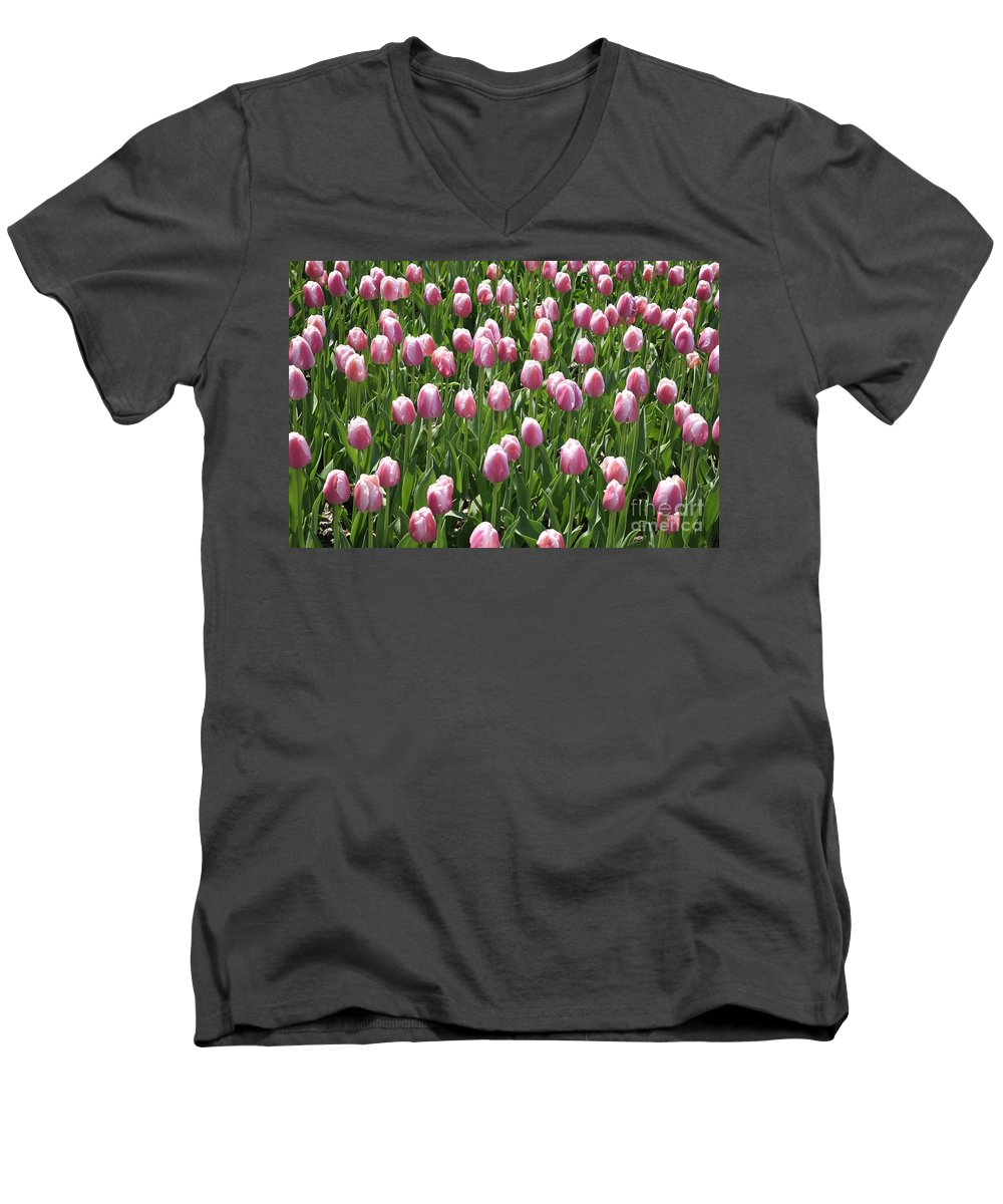 Tulip Men's V-Neck T-Shirt featuring the photograph Pink Tulip Field by Robert Pearson
