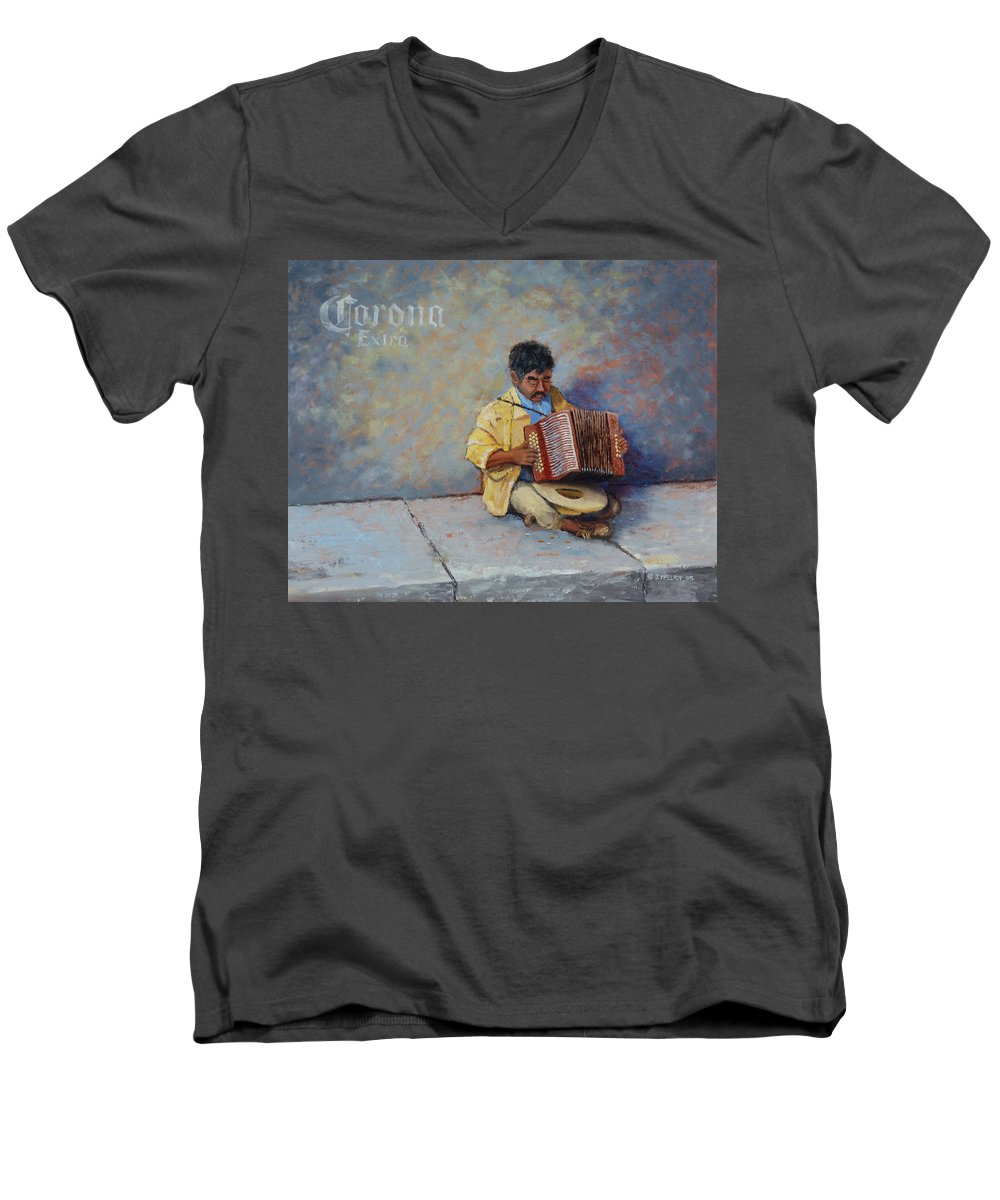 Mexico Men's V-Neck T-Shirt featuring the painting Playing For Pesos by Jerry McElroy