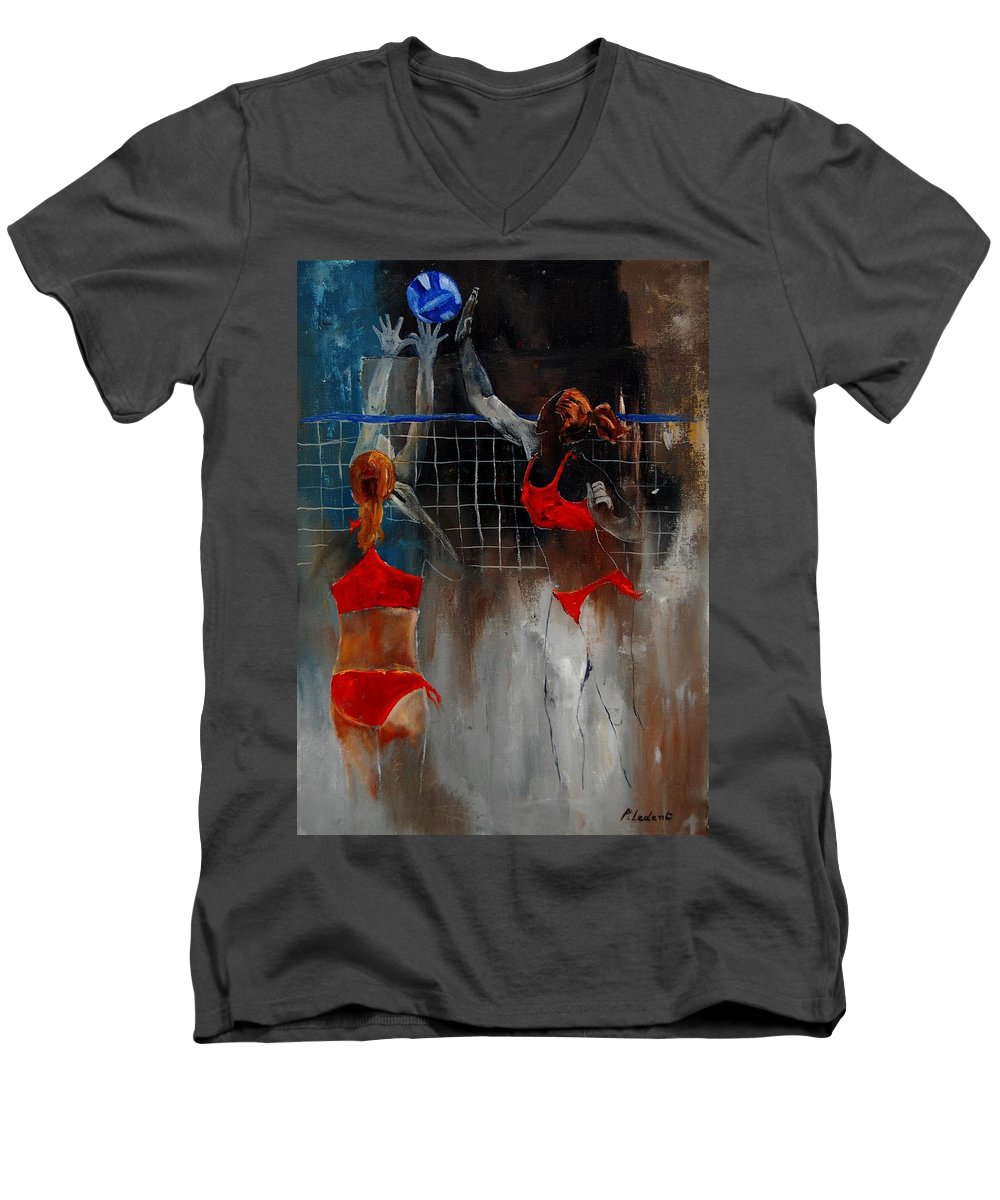 Sport Men's V-Neck T-Shirt featuring the painting Playing Volley by Pol Ledent
