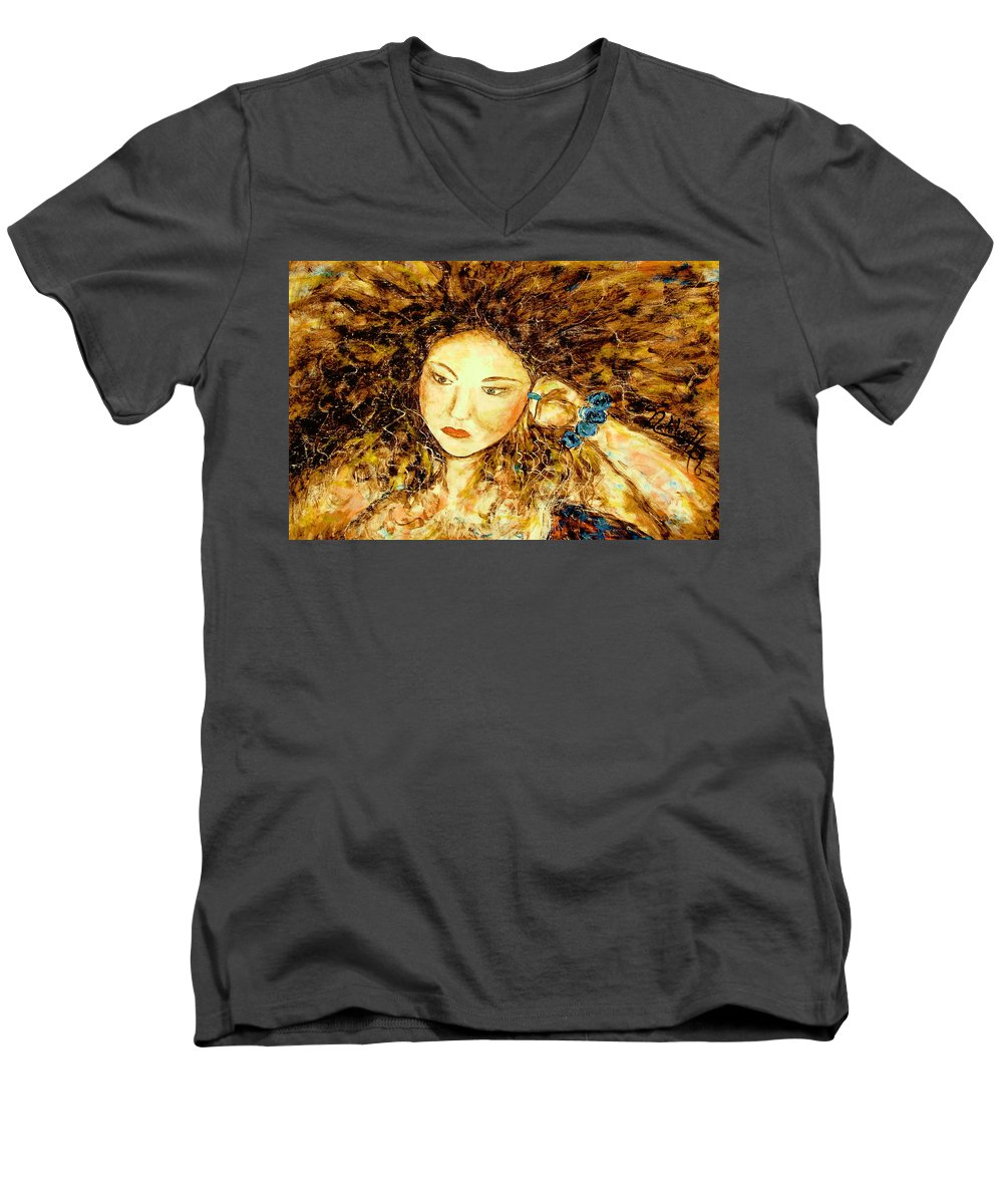 Portrait Men's V-Neck T-Shirt featuring the painting Poet by Natalie Holland