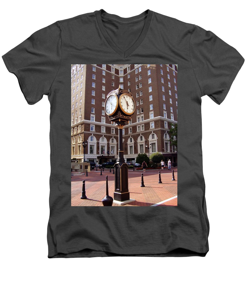 Poinsett Hotel Men's V-Neck T-Shirt featuring the photograph Poinsett Hotel Greeenville Sc by Flavia Westerwelle