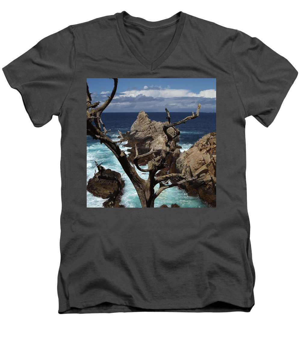 Carmel Men's V-Neck T-Shirt featuring the photograph Point Lobos Rocks And Branches by Charlene Mitchell