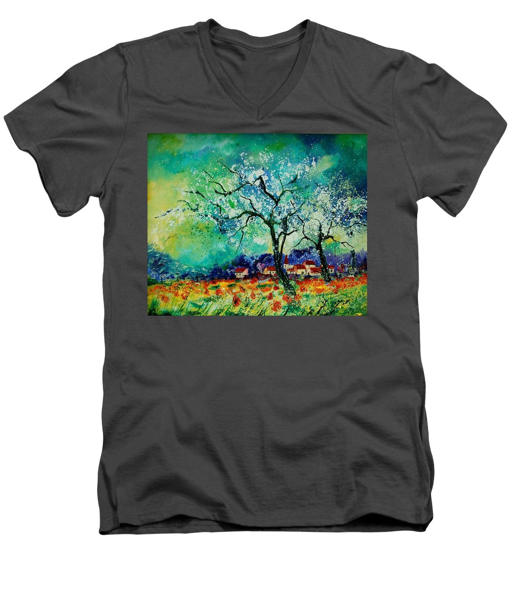 Landscape Men's V-Neck T-Shirt featuring the painting Poppies And Appletrees In Blossom by Pol Ledent