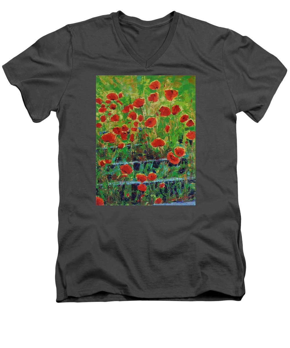Poppies Men's V-Neck T-Shirt featuring the painting Poppies And Traverses 1 by Iliyan Bozhanov