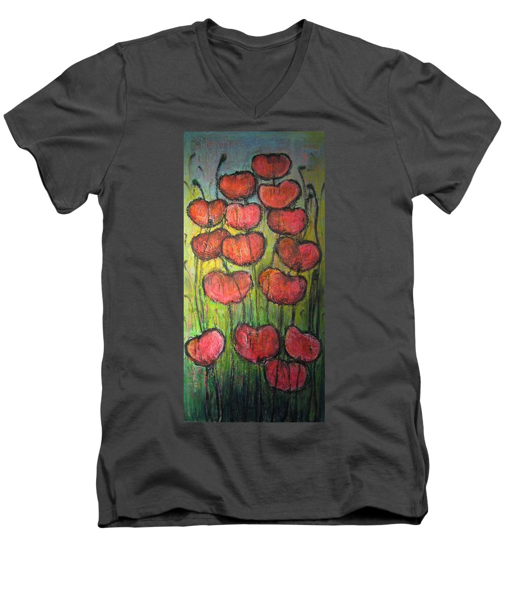 Poppies Men's V-Neck T-Shirt featuring the painting Poppies In Oil by Laurie Maves ART