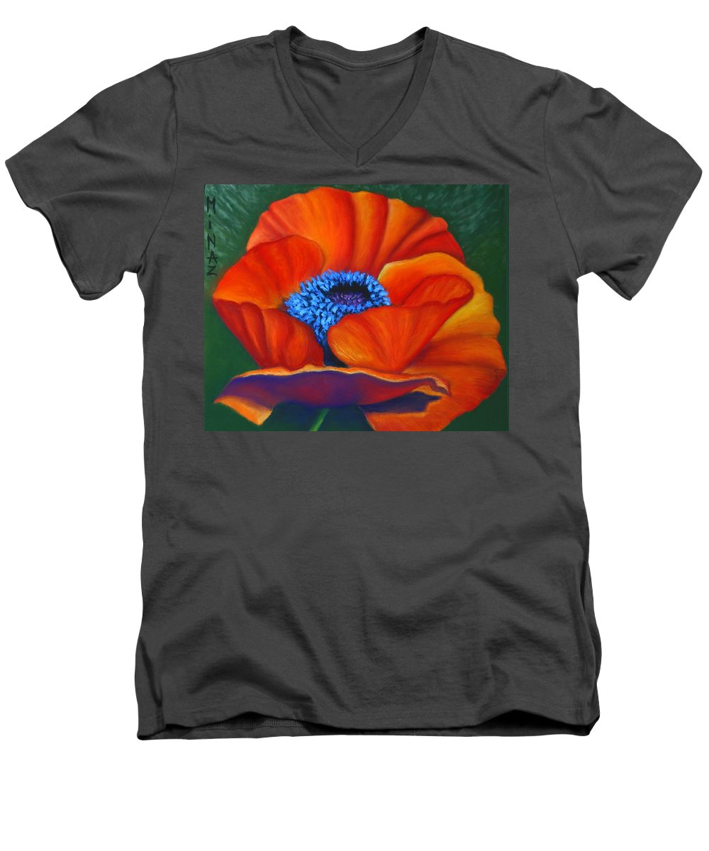 Red Flower Men's V-Neck T-Shirt featuring the painting Poppy Pleasure by Minaz Jantz
