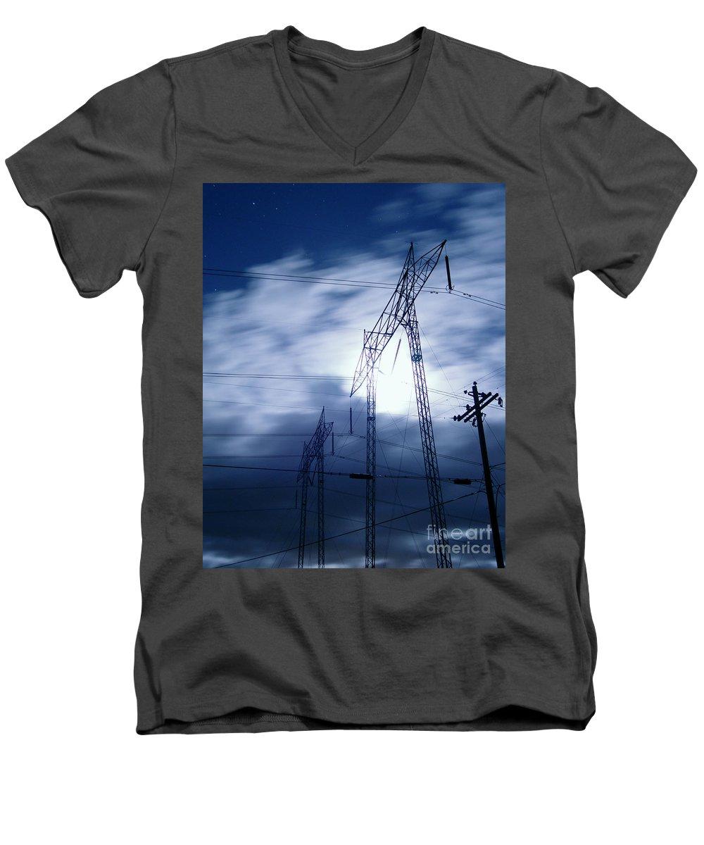 Clouds Men's V-Neck T-Shirt featuring the photograph Power Surge by Peter Piatt