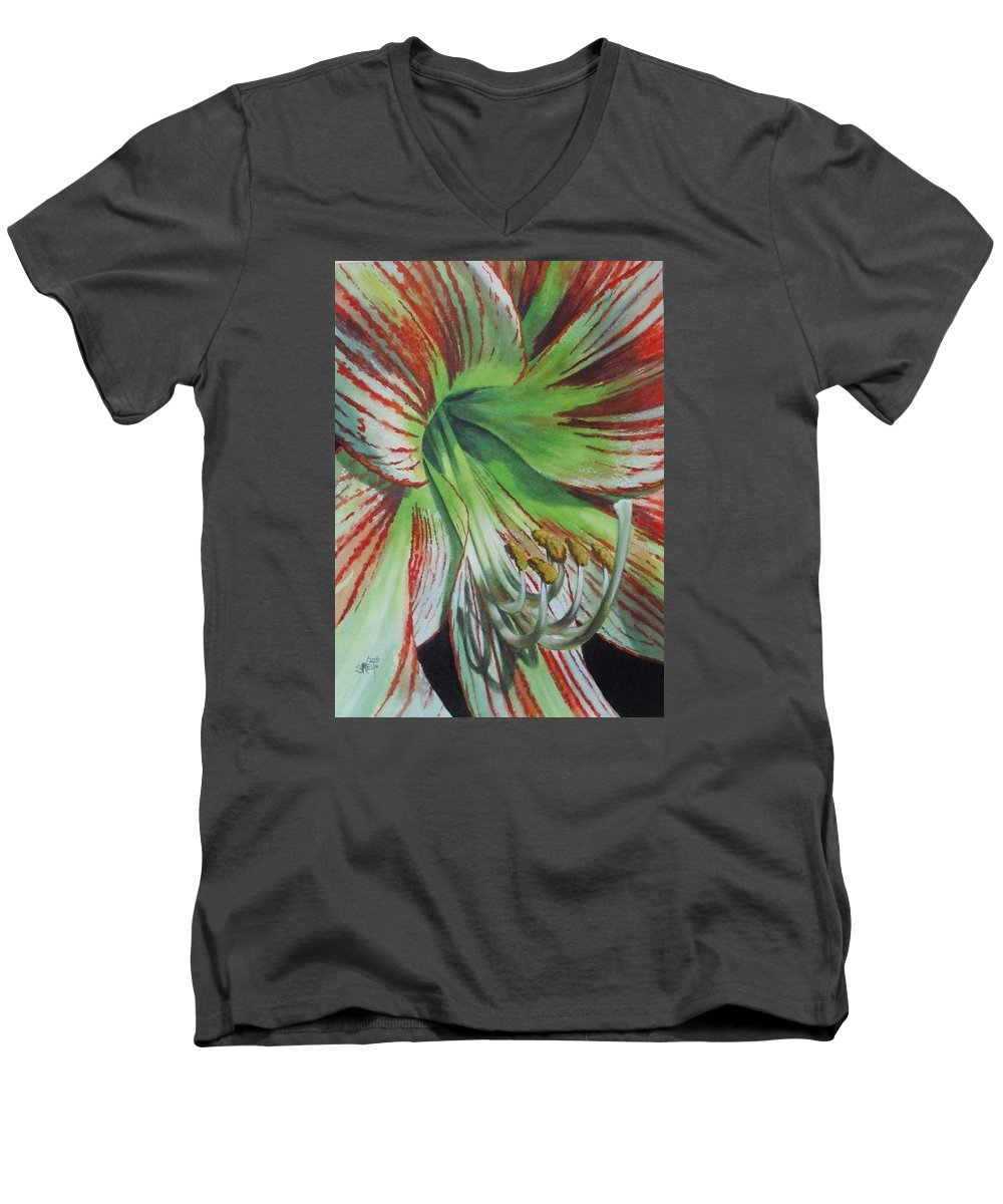 Amaryllis Men's V-Neck T-Shirt featuring the painting Precious by Barbara Keith