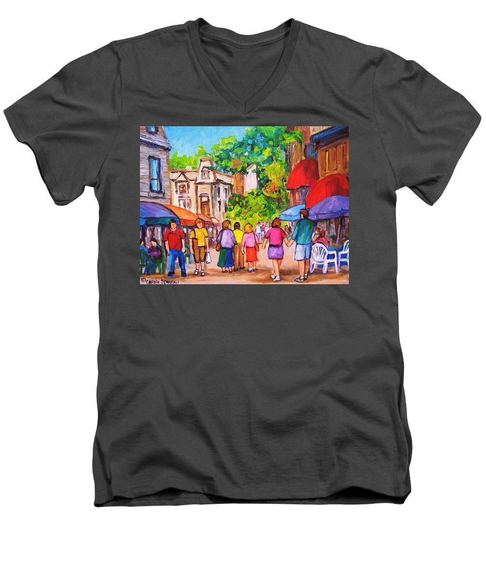 Rue Prince Arthur Montreal Street Scenes Men's V-Neck T-Shirt featuring the painting Prince Arthur Street Montreal by Carole Spandau