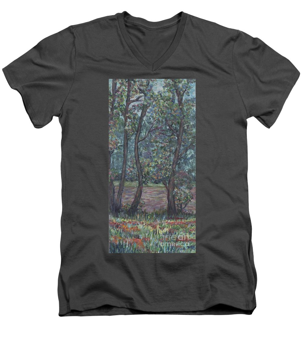 Landscape Men's V-Neck T-Shirt featuring the painting Provence Flowers by Nadine Rippelmeyer