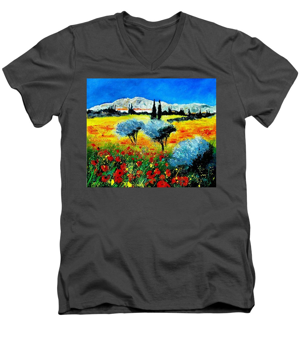 Poppies Men's V-Neck T-Shirt featuring the painting Provence by Pol Ledent