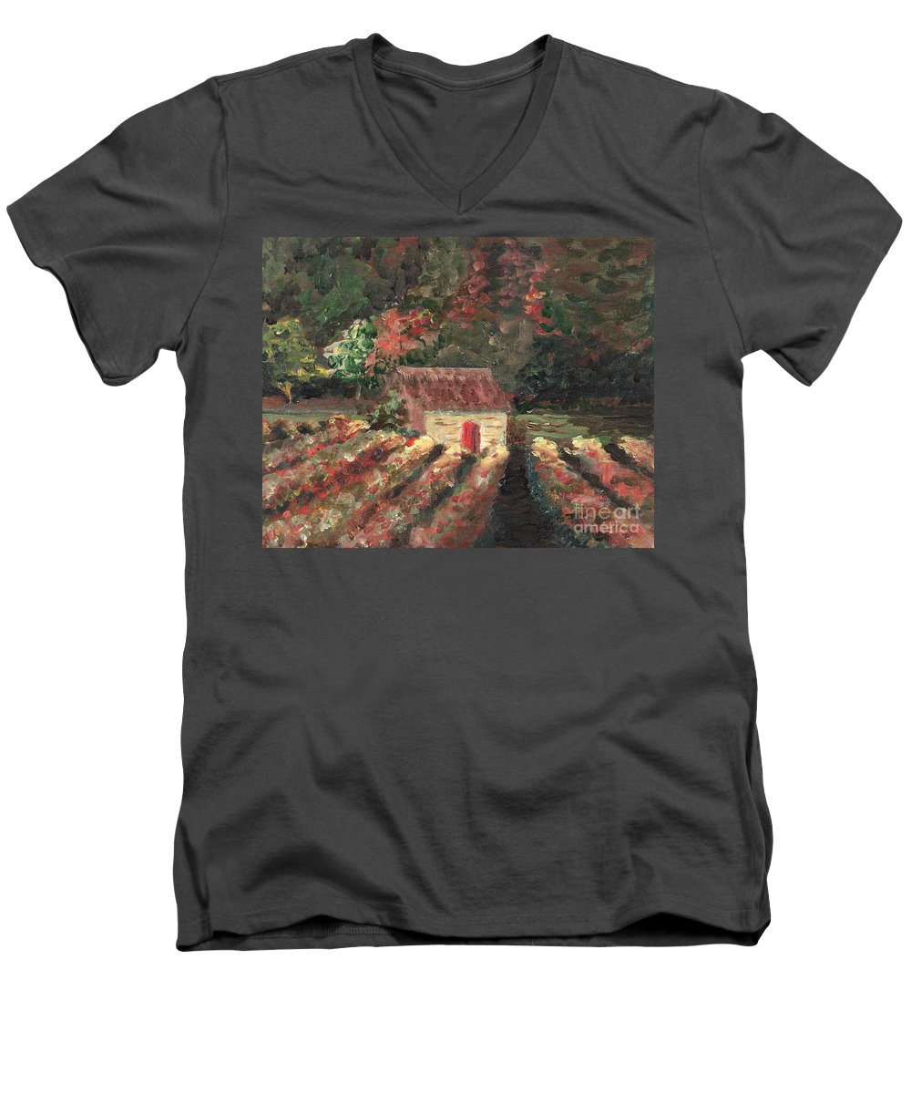 Landscape Men's V-Neck T-Shirt featuring the painting Provence Vineyard by Nadine Rippelmeyer
