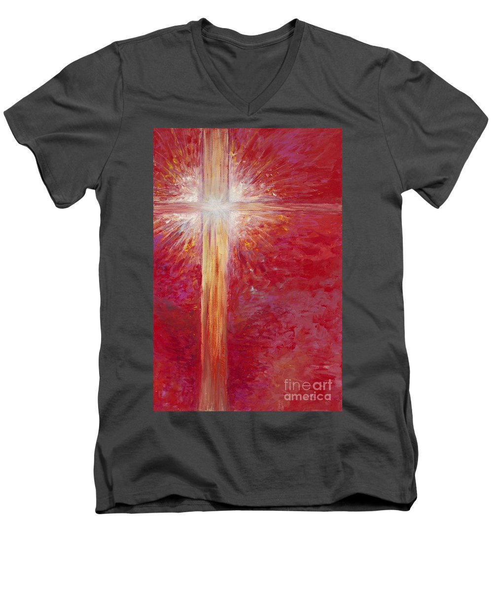 Light Men's V-Neck T-Shirt featuring the painting Pure Light by Nadine Rippelmeyer