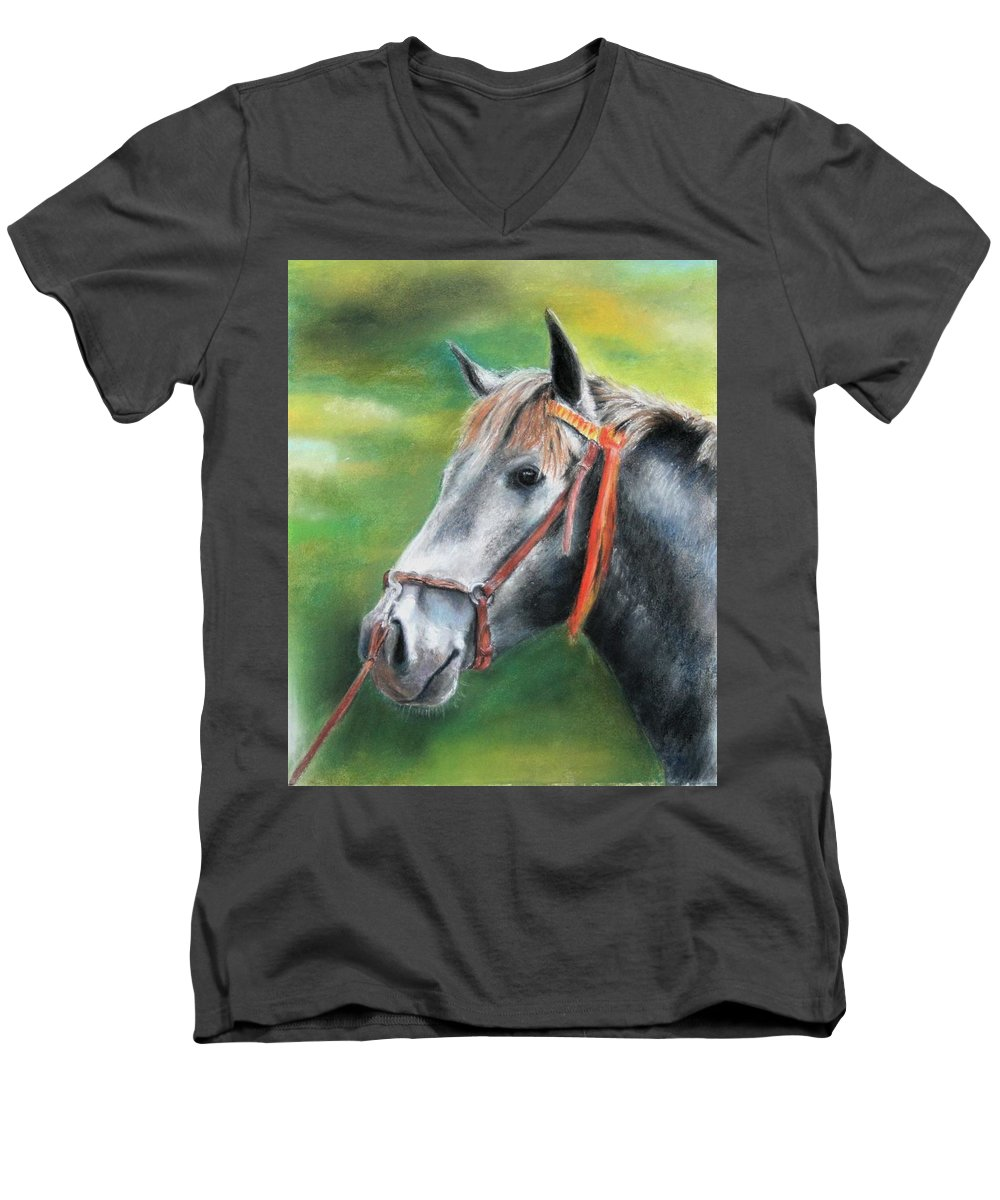 Horse Men's V-Neck T-Shirt featuring the painting Pure Spanish by Ceci Watson