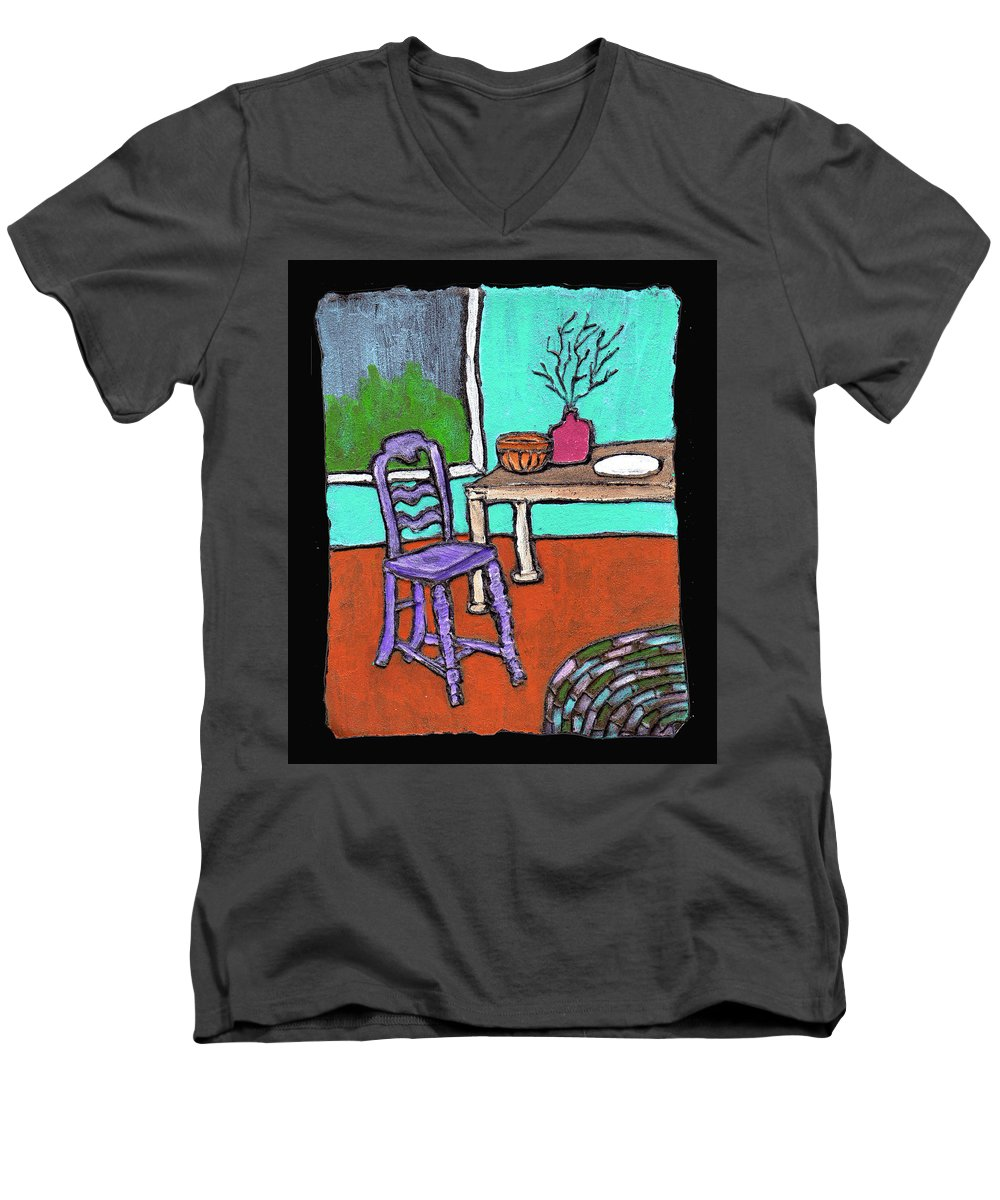 Purple Men's V-Neck T-Shirt featuring the painting Purple Chair by Wayne Potrafka
