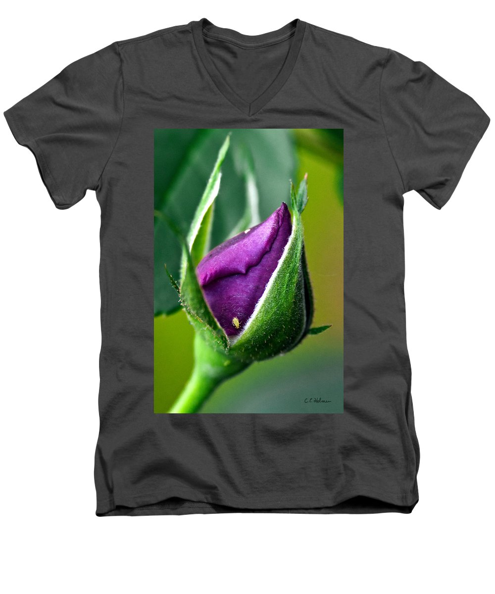 Rose Men's V-Neck T-Shirt featuring the photograph Purple Rose Bud by Christopher Holmes