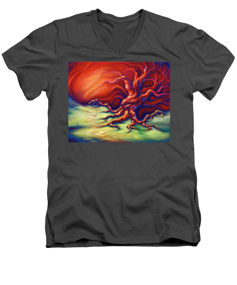 Oil Painting Men's V-Neck T-Shirt featuring the painting Quiet Place by Jennifer McDuffie