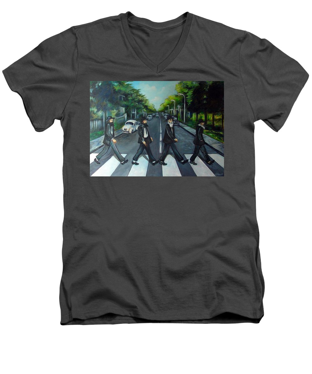 Surreal Men's V-Neck T-Shirt featuring the painting Rabbi Road by Valerie Vescovi