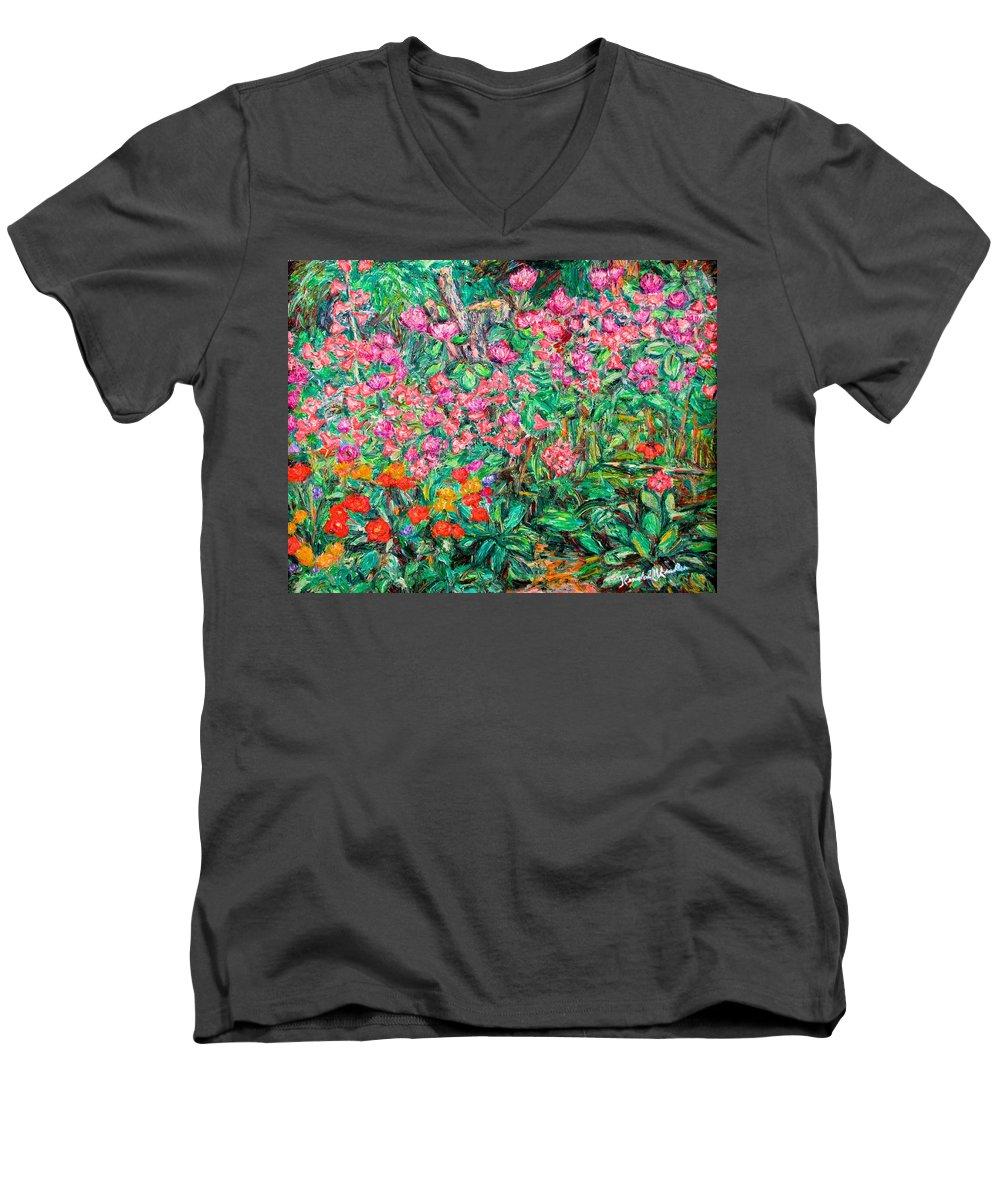 Kendall Kessler Men's V-Neck T-Shirt featuring the painting Radford Flower Garden by Kendall Kessler