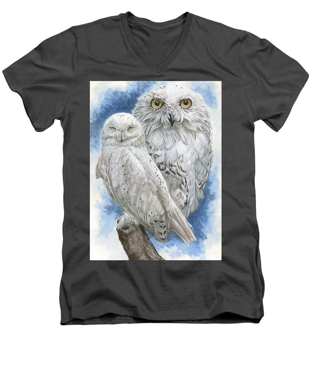 Snowy Owl Men's V-Neck T-Shirt featuring the mixed media Radiant by Barbara Keith