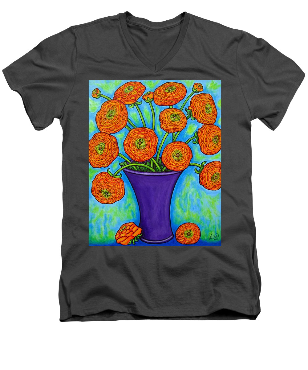 Green Men's V-Neck T-Shirt featuring the painting Radiant Ranunculus by Lisa Lorenz