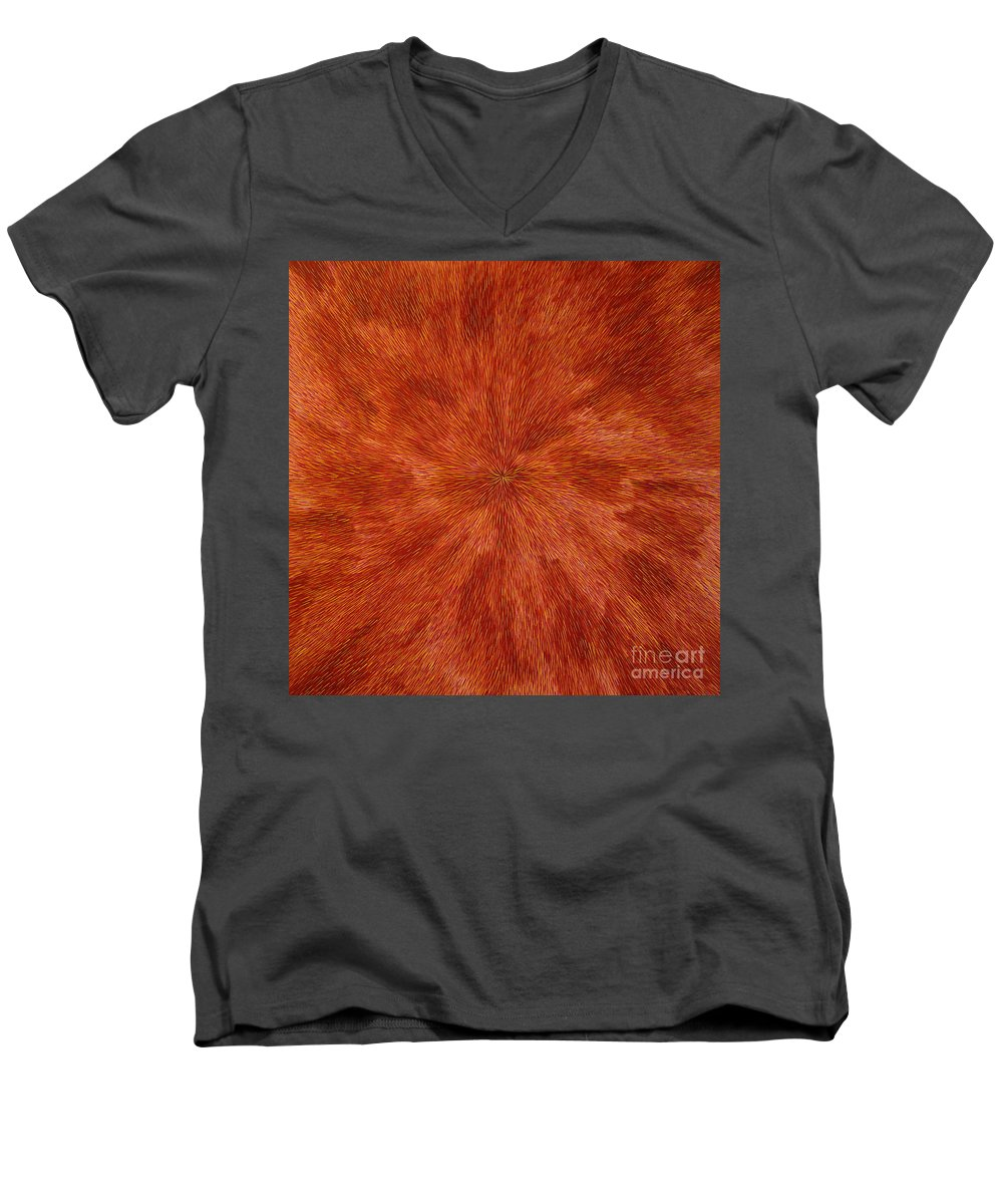 Abstract Men's V-Neck T-Shirt featuring the painting Radiation With Brown Yellow And Voilet by Dean Triolo